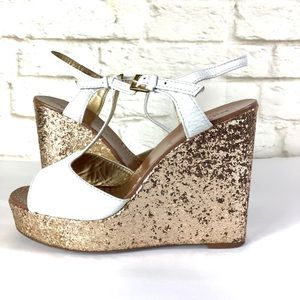 Kate Spade New York Glitter T-Strap Wedge Size 8
